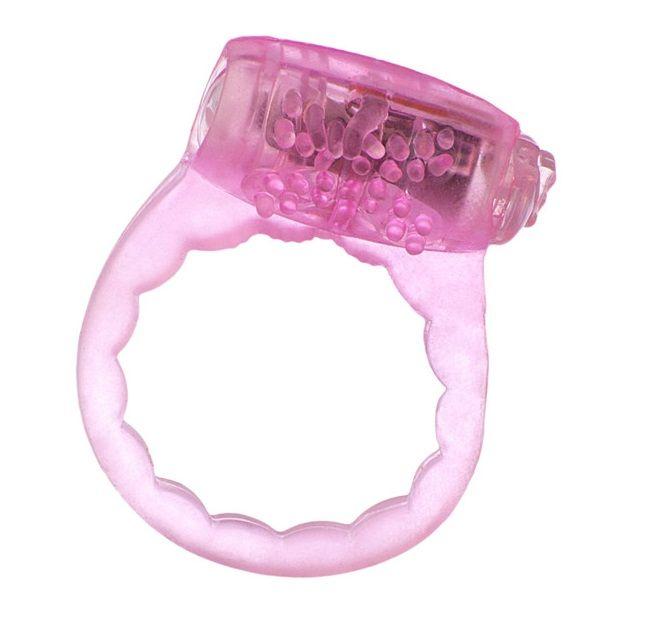 Тонкое розовое эрекционное кольцо с вибратором фото