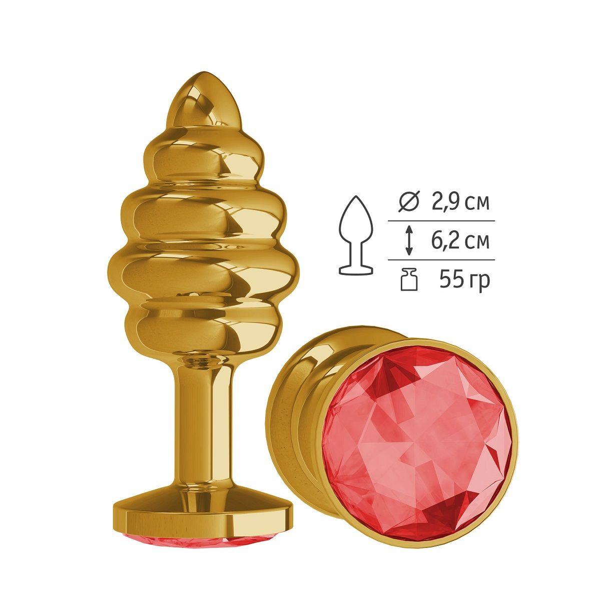 Золотистая пробка с рёбрышками и красным кристаллом - 7 см..