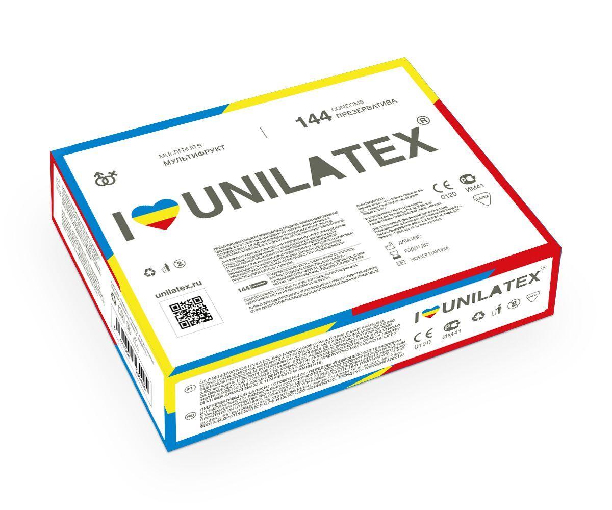 Разноцветные ароматизированные презервативы Unilatex Multifruits - 144 шт. фото