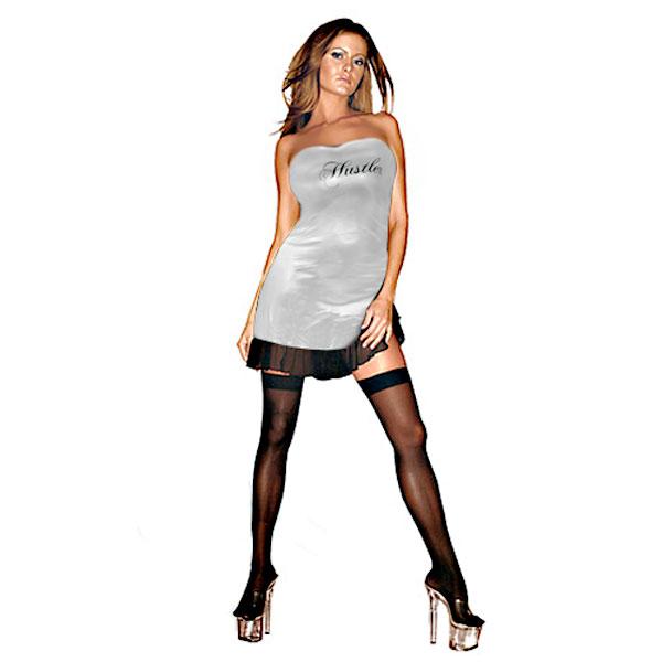 Клубное платье с надписью HUSTLER на груди фото