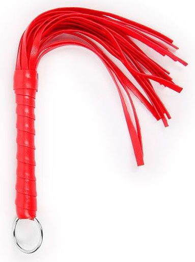 Красная плеть с рукоятью в оплетке - 28 см. фото