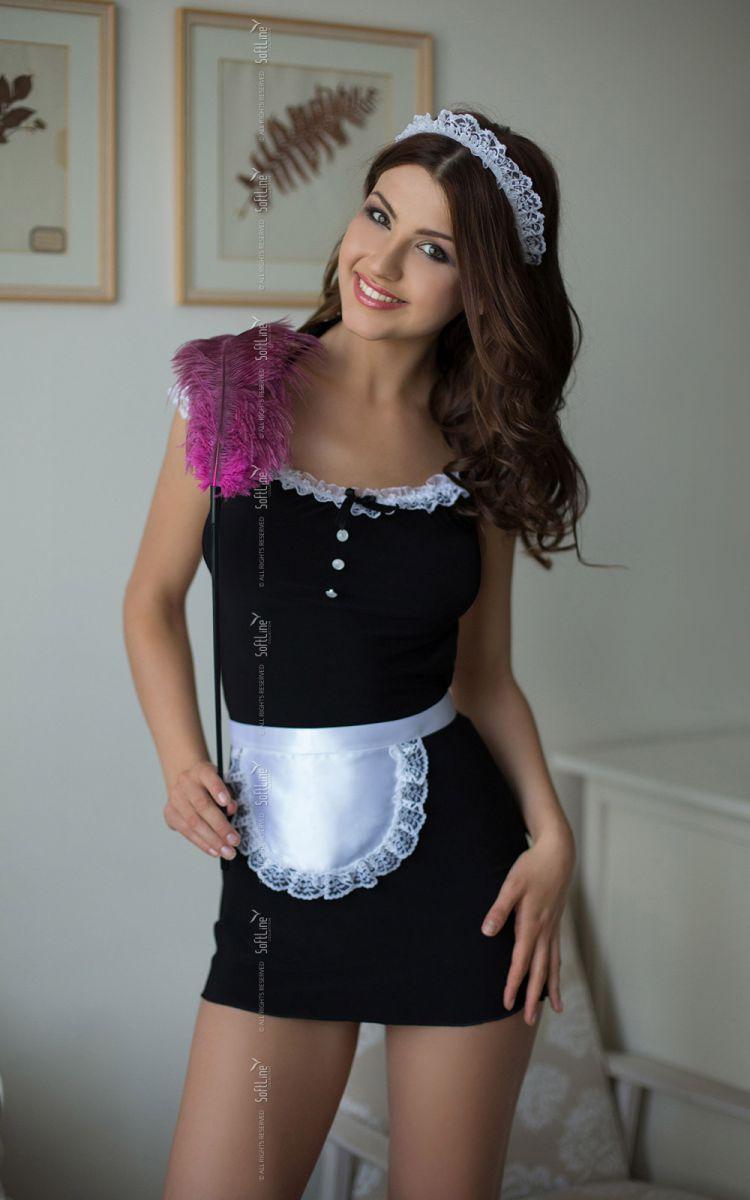 Платье горничной Jane с фартуком и кружевной повязкой на голову фото