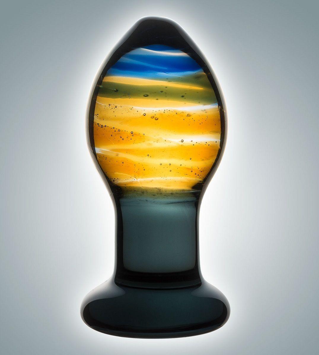 Красивая стеклянная пробка с цветными разводами - 9 см. фото
