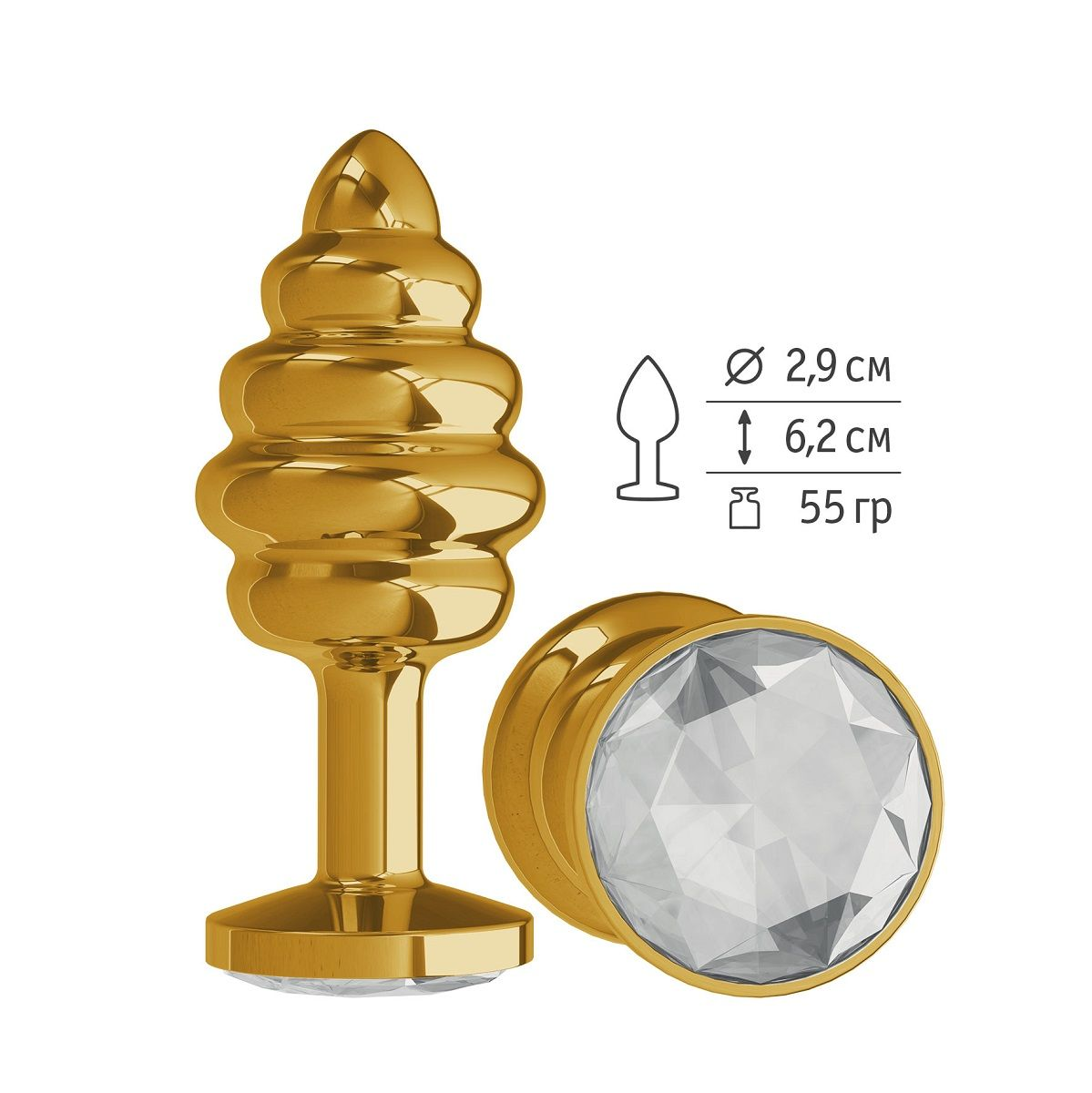 Золотистая пробка с рёбрышками и прозрачным кристаллом - 7 см..
