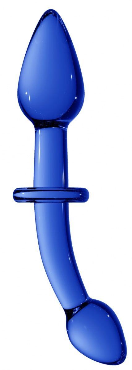 Синий двусторонний анальный стимулятор Doubler - 18 см. фото