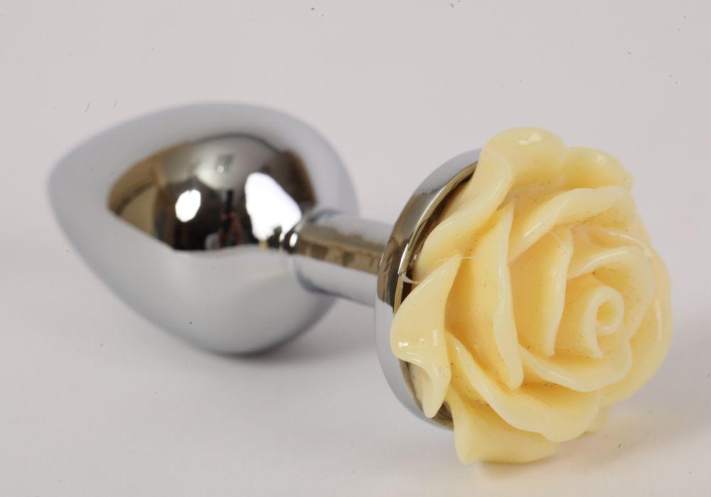 Серебристая анальная пробка с жёлтой розой - 8 см. фото
