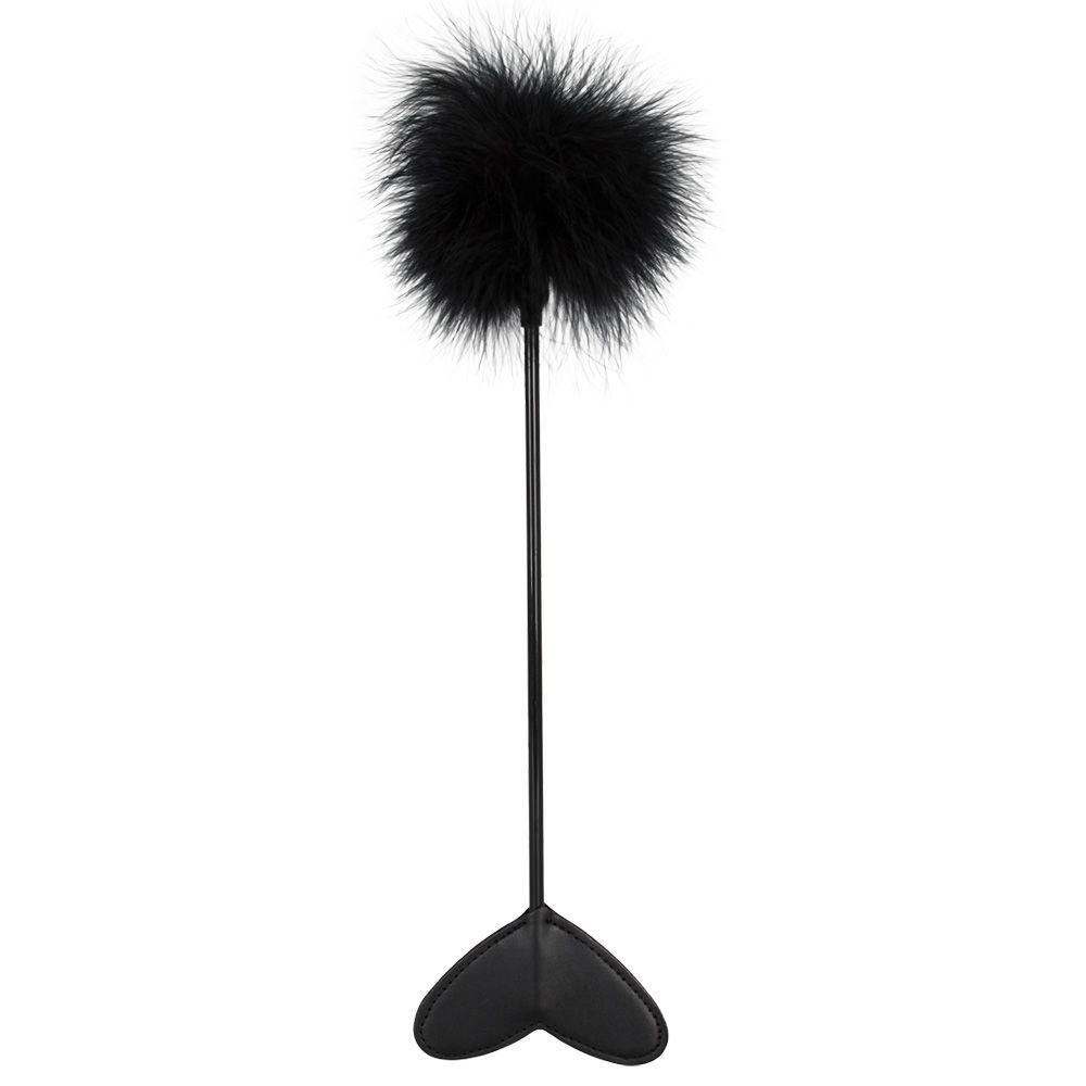 Черная метелка-пуховка с наконечником-сердцем - 25 см. фото