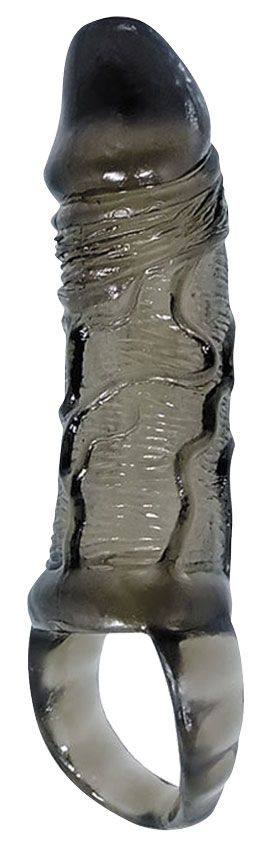 Закрытая насадка на фаллос с кольцом для мошонки - 15 см.
