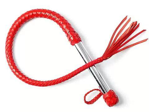 Однохвостая красная плеть с хлопушкой - 70 см. фото