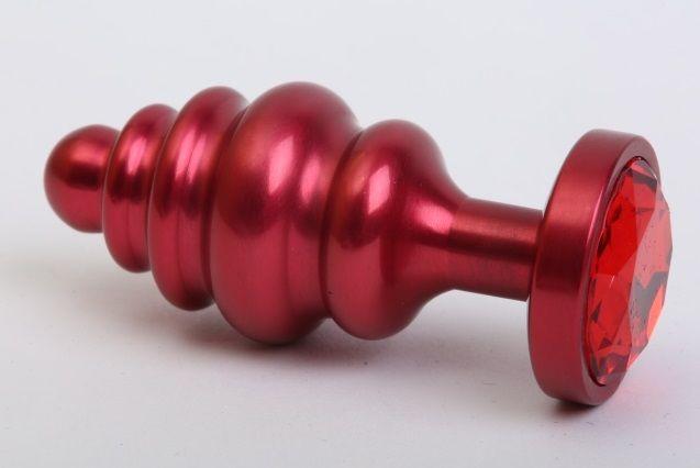 Красная ребристая анальная пробка с красным стразом - 7,3 см. фото