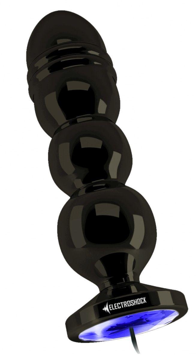Темно-серая анальная пробка с электростимуляцией Bold Butt Plug - 14,1 см. фото
