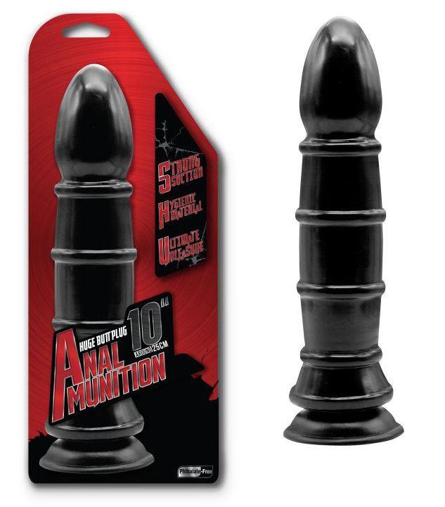 Чёрный анальный фаллоимитатор с рёбрышками - 25,4 см. фото