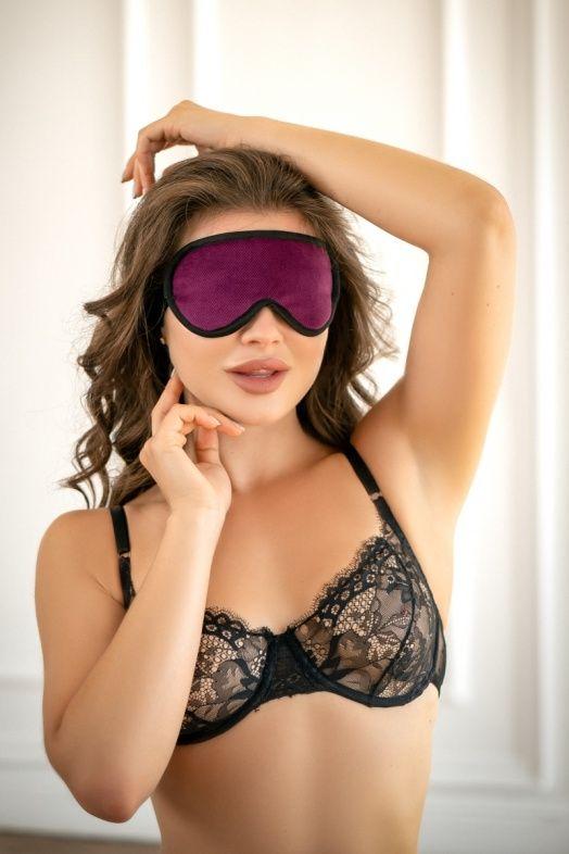 Фиолетовая сплошная маска на резиночке с черной окантовкой БДСМ Арсенал