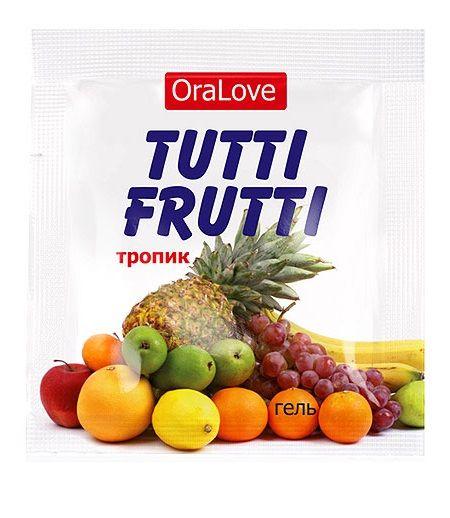 Пробник гель-смазки Tutti-frutti со вкусом тропических фруктов - 4 гр. фото