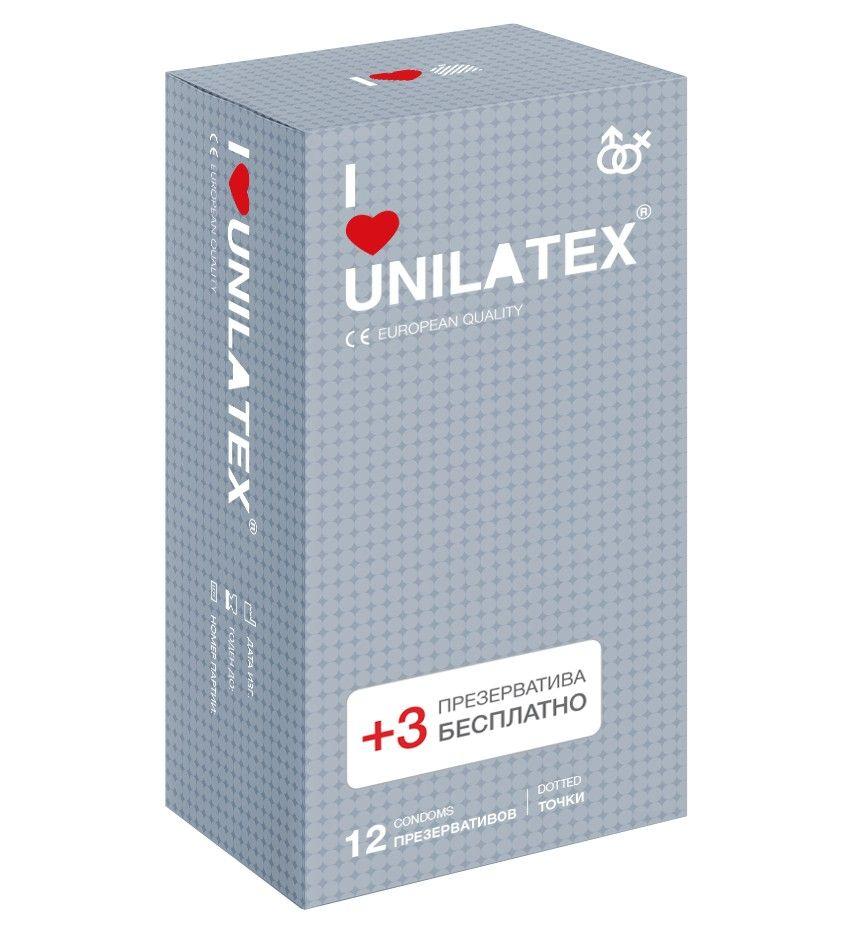 Презервативы с точками Unilatex Dotted - 12 шт. + 3 шт. в подарок фото