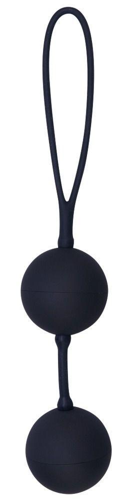 Черные вагинальные шарики с петлёй Black Velvets фото