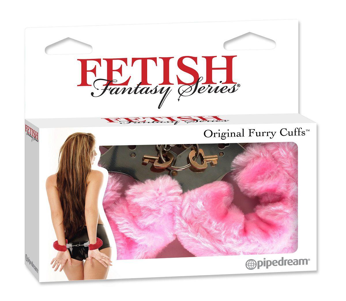 Металлические наручники Original Furry Cuffs с розовым мехом фото