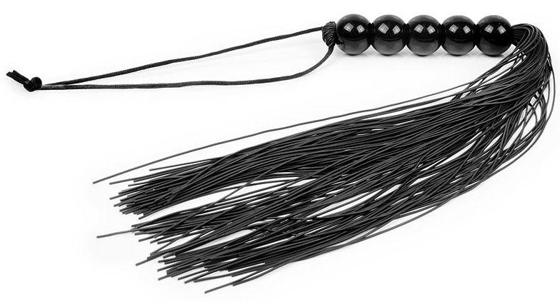 Черная многохвостая плеть с рукоятью-шариками - 35 см. фото